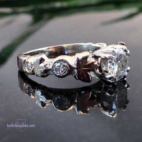 14K Maple Leaf Engagement ring with 1ct diamond
