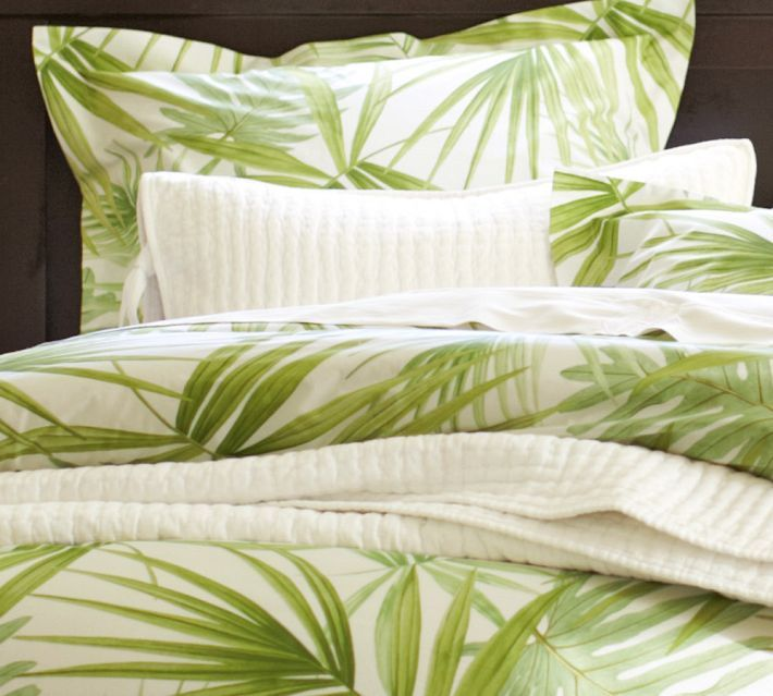 Pottery Barn Green Palm Frond Leaf Full Queen Duvet Cover