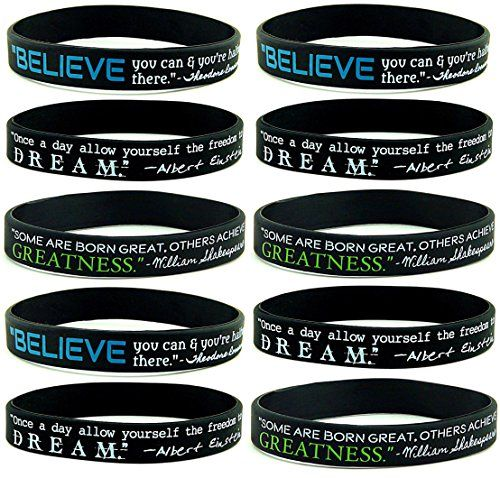 10pack Believe Dream Greatness Inspirational Quote Silicone Bracelets Bulk Pack Of Black Si Inspirational Jewelry Quotes Bracelet Quotes Inspirational Quotes