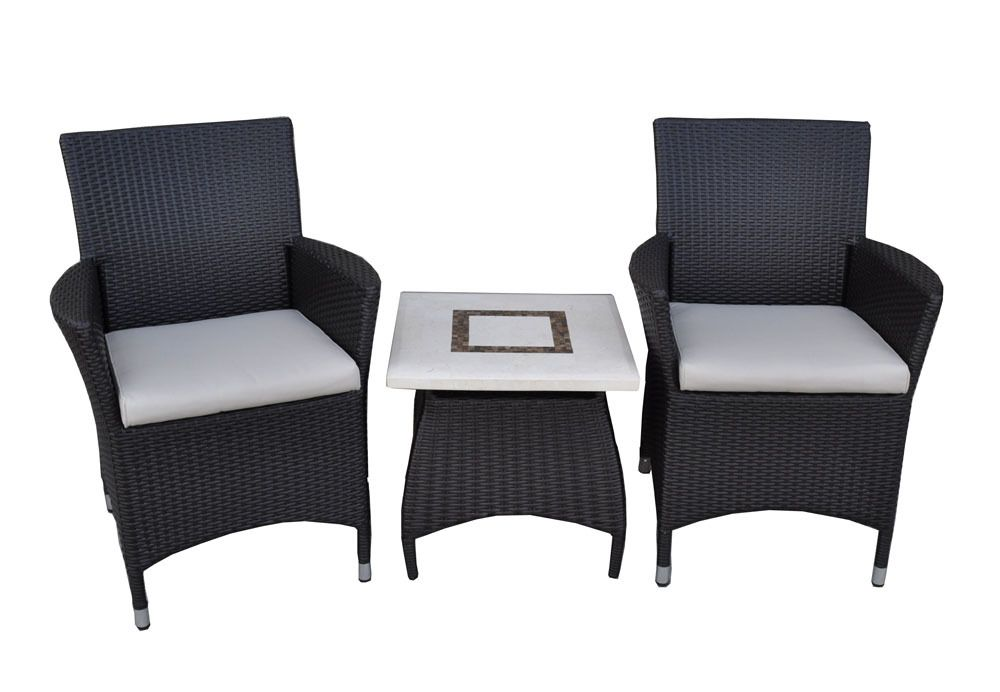 United House Furniture   Roman Patio Set   3pc 2 Wicker Chairs With Bali Stone  Top