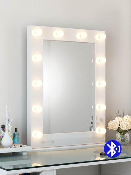 Audio High Gloss Tall LED Hollywood Mirror (White)