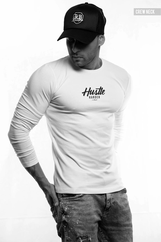 Casual Entrepreneur Mens White T-shirt High Quality Stylish HUSTLER Saying Tees