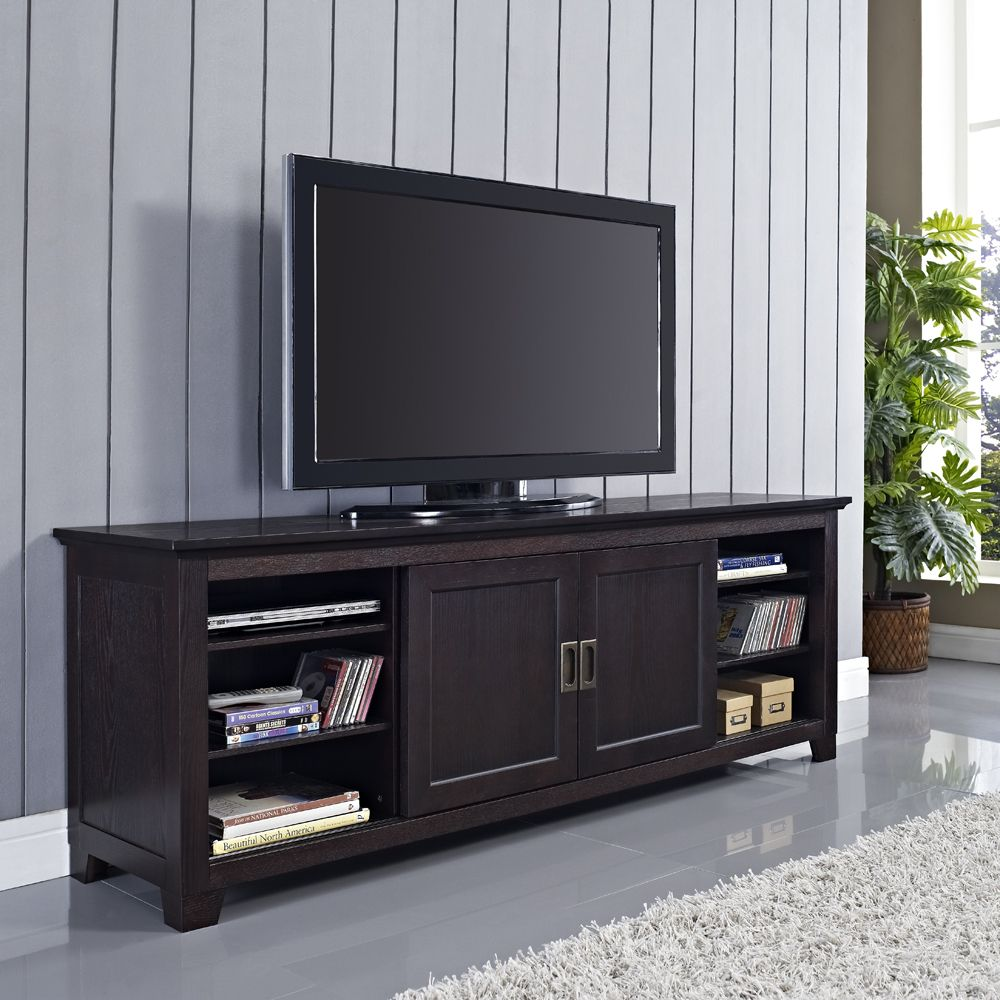 70 Best Online Furniture Stores: 70 In Espresso Wood TV Stand With Sliding Doors