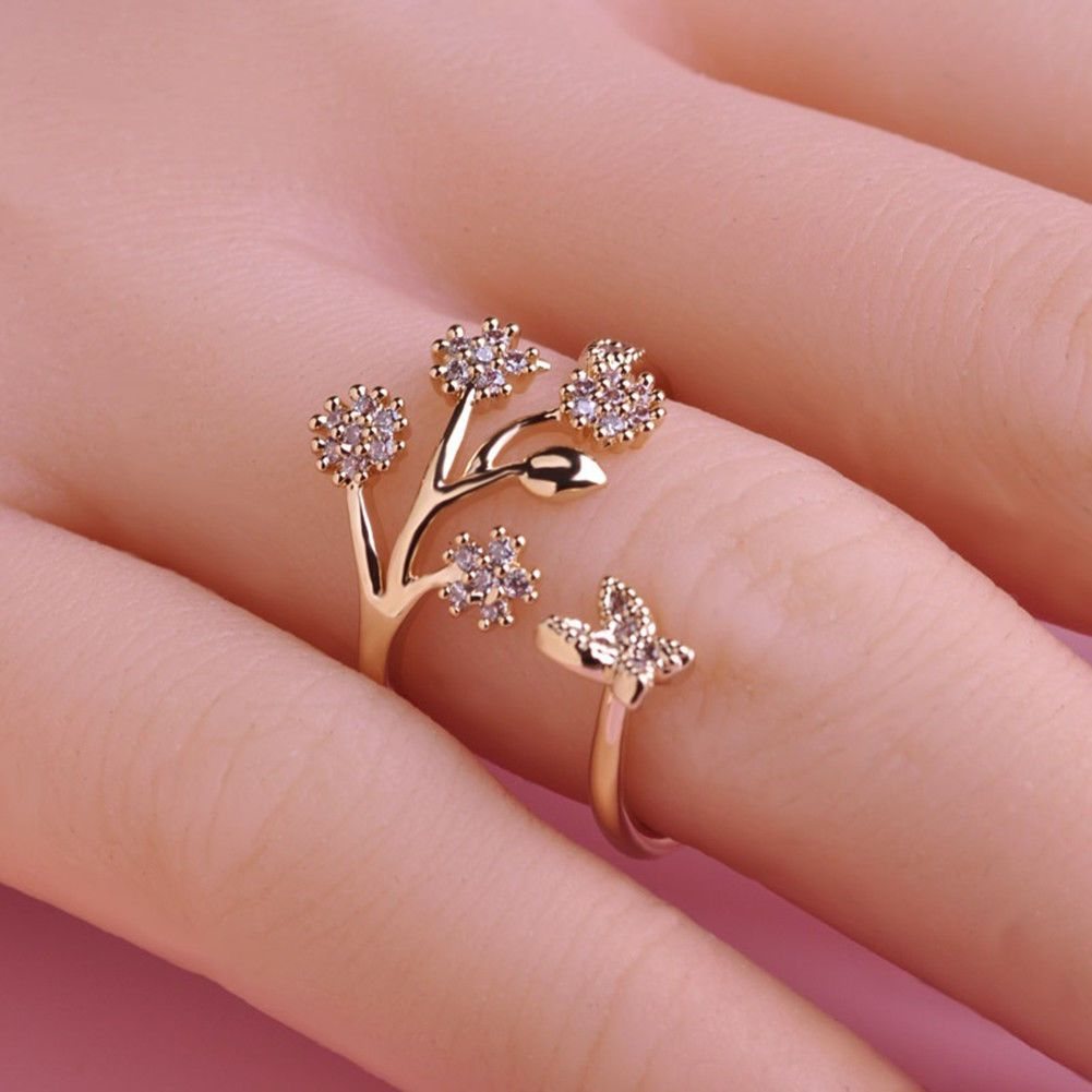 Women Girls Rhinestone Butterfly Flower Finger Ring Jewelry ...