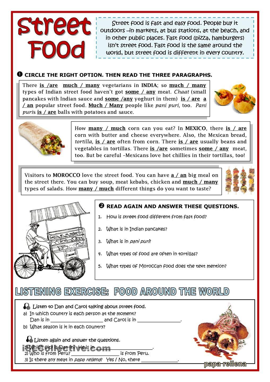 STREET FOOD | READING COMPREHENSION | Pinterest | Englischunterricht ...