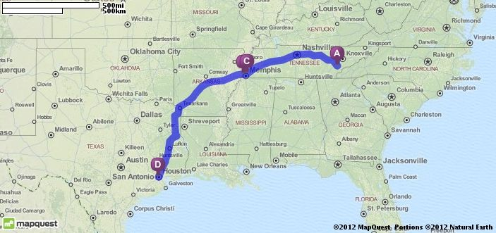Driving Directions from Vonore, Tennessee to Houston, Texas ...
