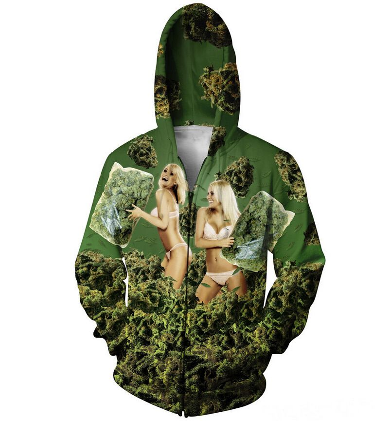 420 Pillow Fight Zip Hoodie Weed Blondes 3d Print Outfits