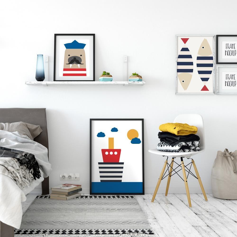 Toile A Encadrer Theme Mer Tableau Chambre Enfant Decoration