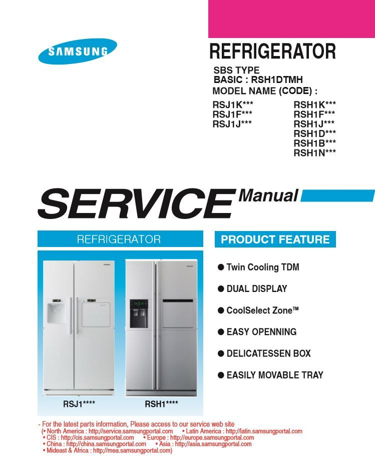 Samsung Rsh1nbrs Refrigerator Original Service Manual Repair Guide Repair Guide Repair Repair And Maintenance