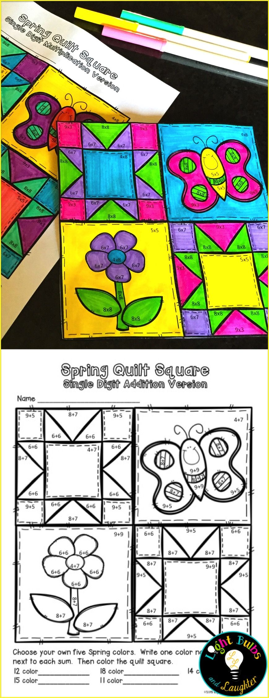 Spring coloring pages for second graders - Celebrate Spring With Art And Math Facts And Make A Class Quilt Includes Addition Make Color3rd Grade Mathsecond