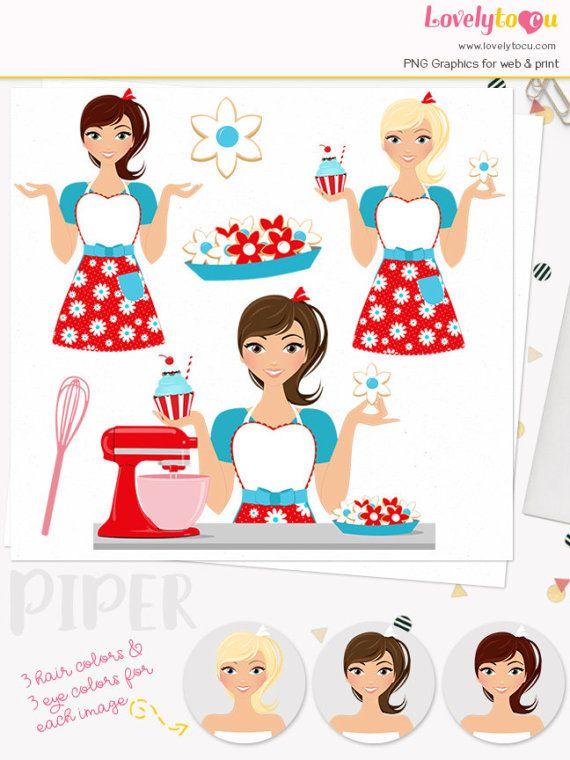 Cupcake Girl   Cartões de visita confeitaria, Cozinheira desenho, Bonecas  vintage