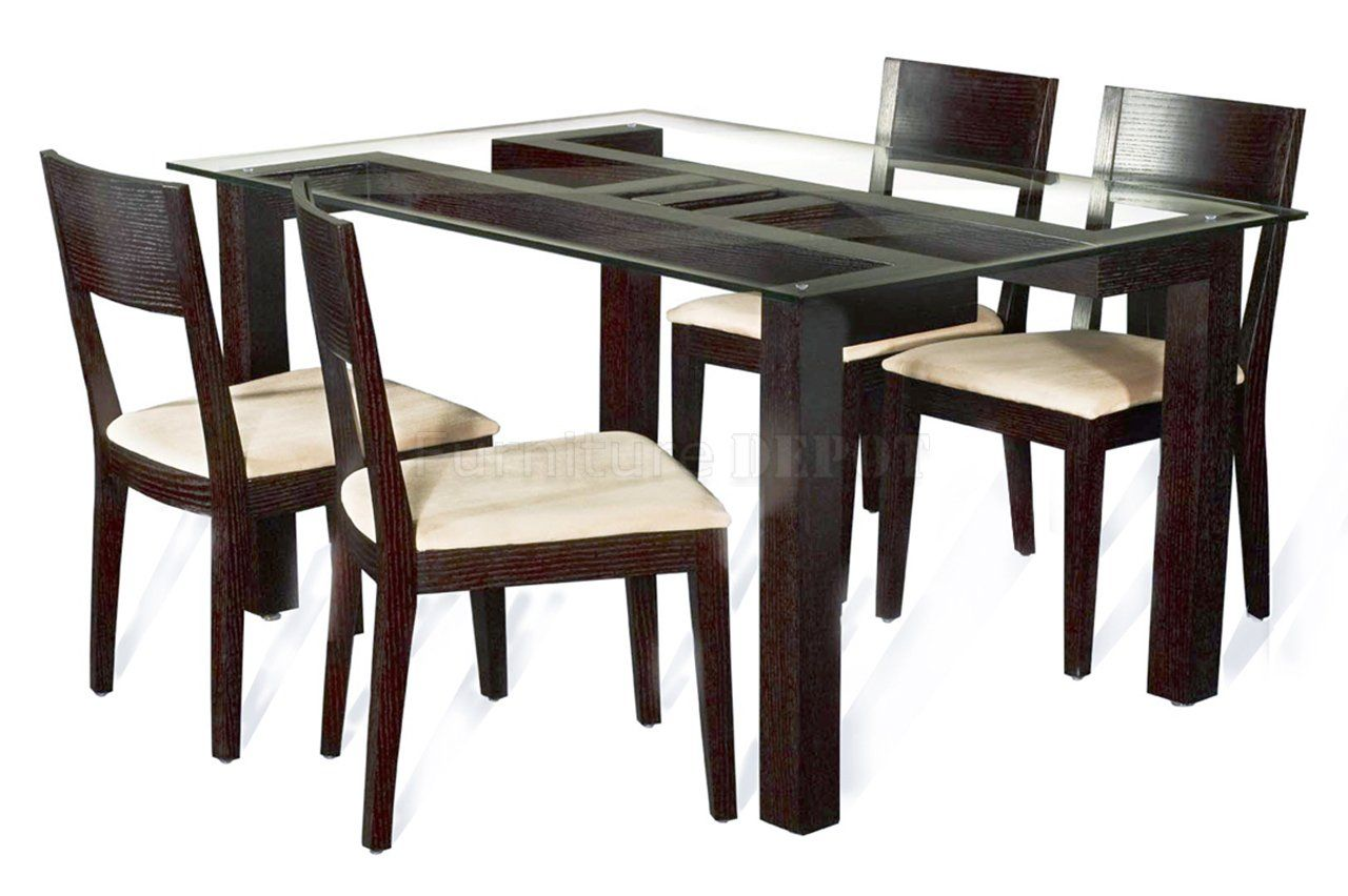 Glass And Wood Dining Table Chairs Stackable Wooden Furniture Top Notch With Round Beveled Edge