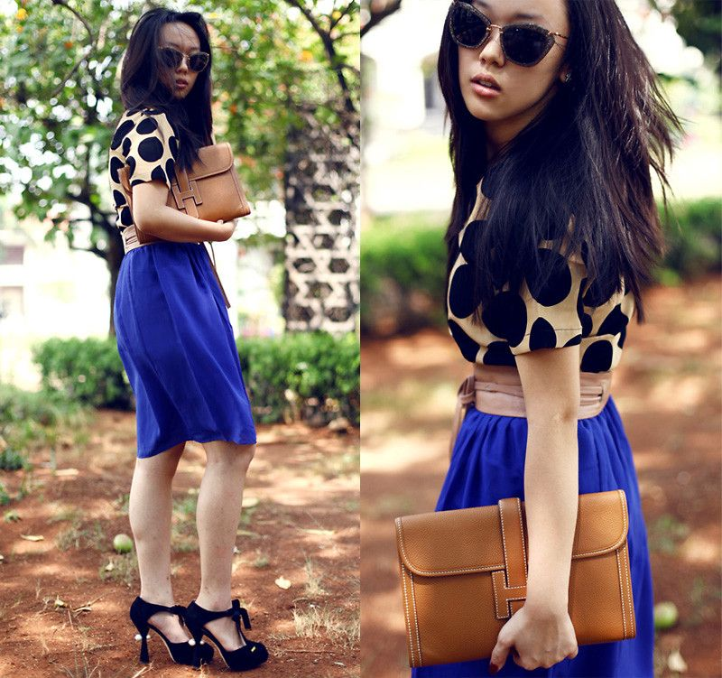 Michelle Koesnadi - Vobee Top, Vobee Skirt, Louis Vuitton Shoes, Hermës Bag, Mango Belt - STUCK in 50s | LOOKBOOK