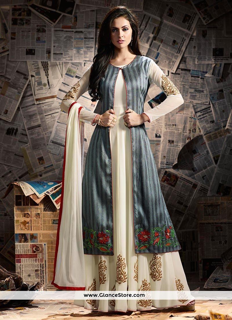 9b6e44d7802561 Intrinsic Banarasi Silk Grey And White Zari Work Jacket Style Anarkali Suit