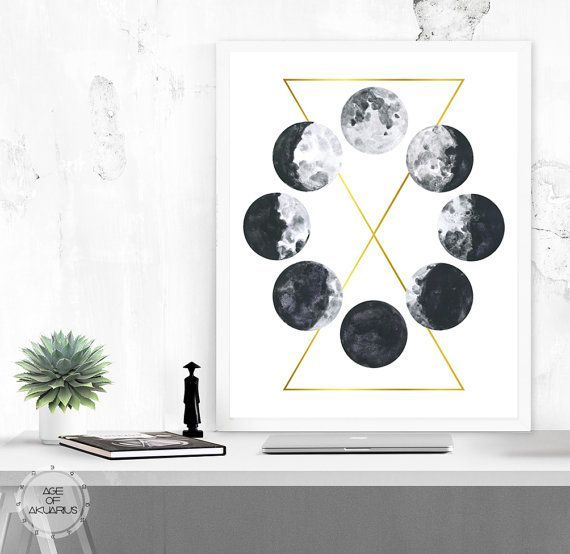 watercolor moon phases printable art moon print galaxy space grunge science digital download astronomy geometric art black white gold is part of Watercolor moon - Watercolor Moon Phases, Printable Art  Moon Print Galaxy Space Grunge Science Digital Download Astronomy Geometric Art Black White Gold Watercolorart Moon