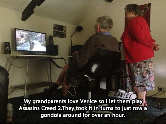 Grandparents enjoy video games too… Whomever this kid is, he is awesome.