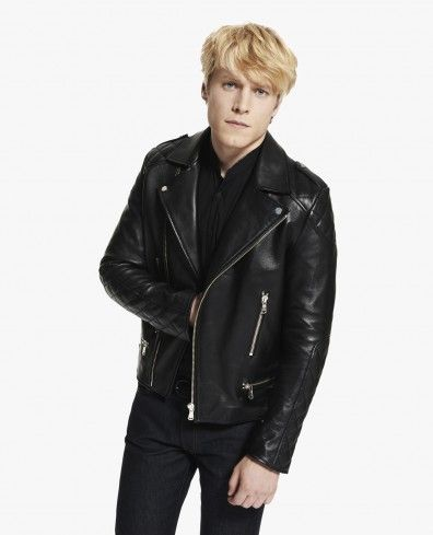 7a9d4d83a6 Leather biker jacket with quilted trim - Blouson - Man - The Kooples ...