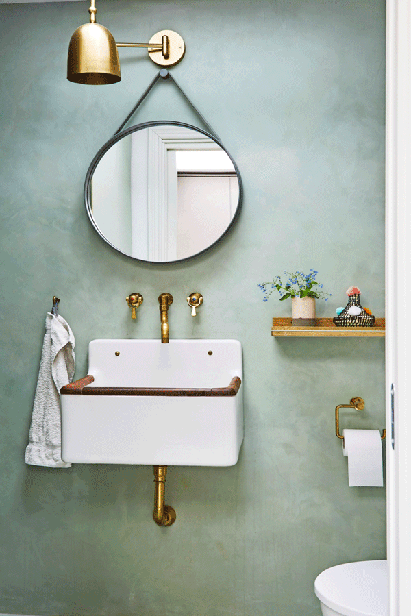 Dusty green bathroom