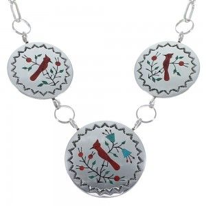 Zuni Multicolor Cardinal Sterling Silver Link Necklace EX46176