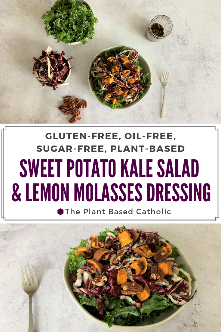 This Sweet Potato Kale Salad with Lemon Molasses Dressing is a colorful salad packed with nutrients. Easy to through together for a satisfying meal!   @forksoverknvies