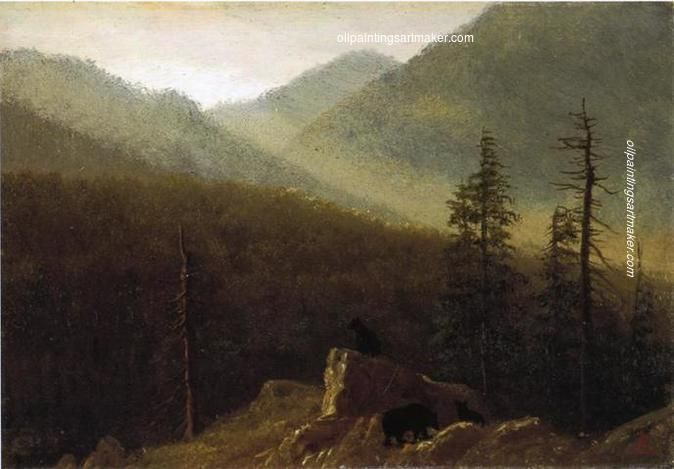 Albert Bierstadt Bears in the Wilderness, 1870 painting outlet for sale, painting