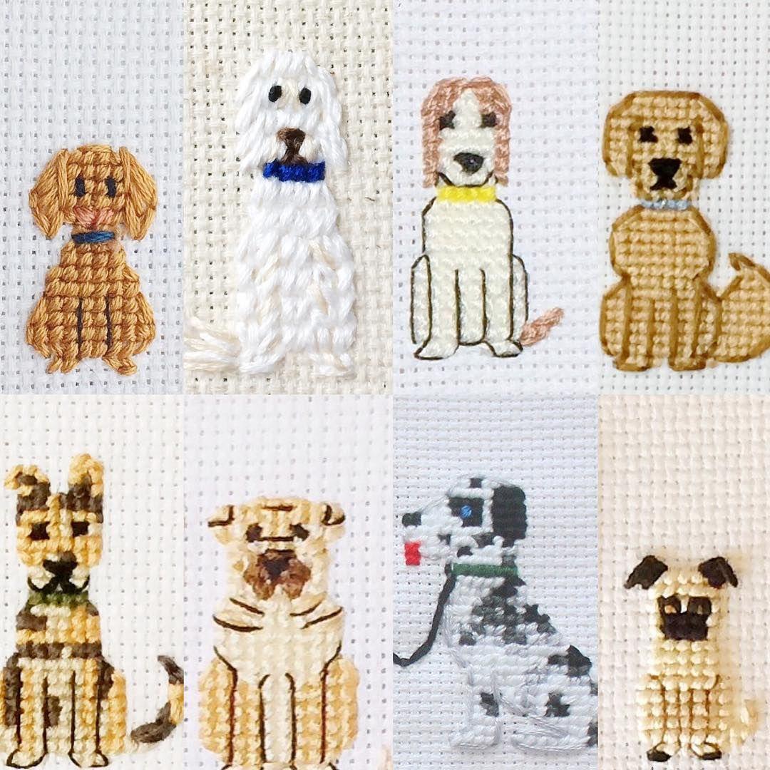 Cross stitch pattern of a dog - a symbol of 2018 100