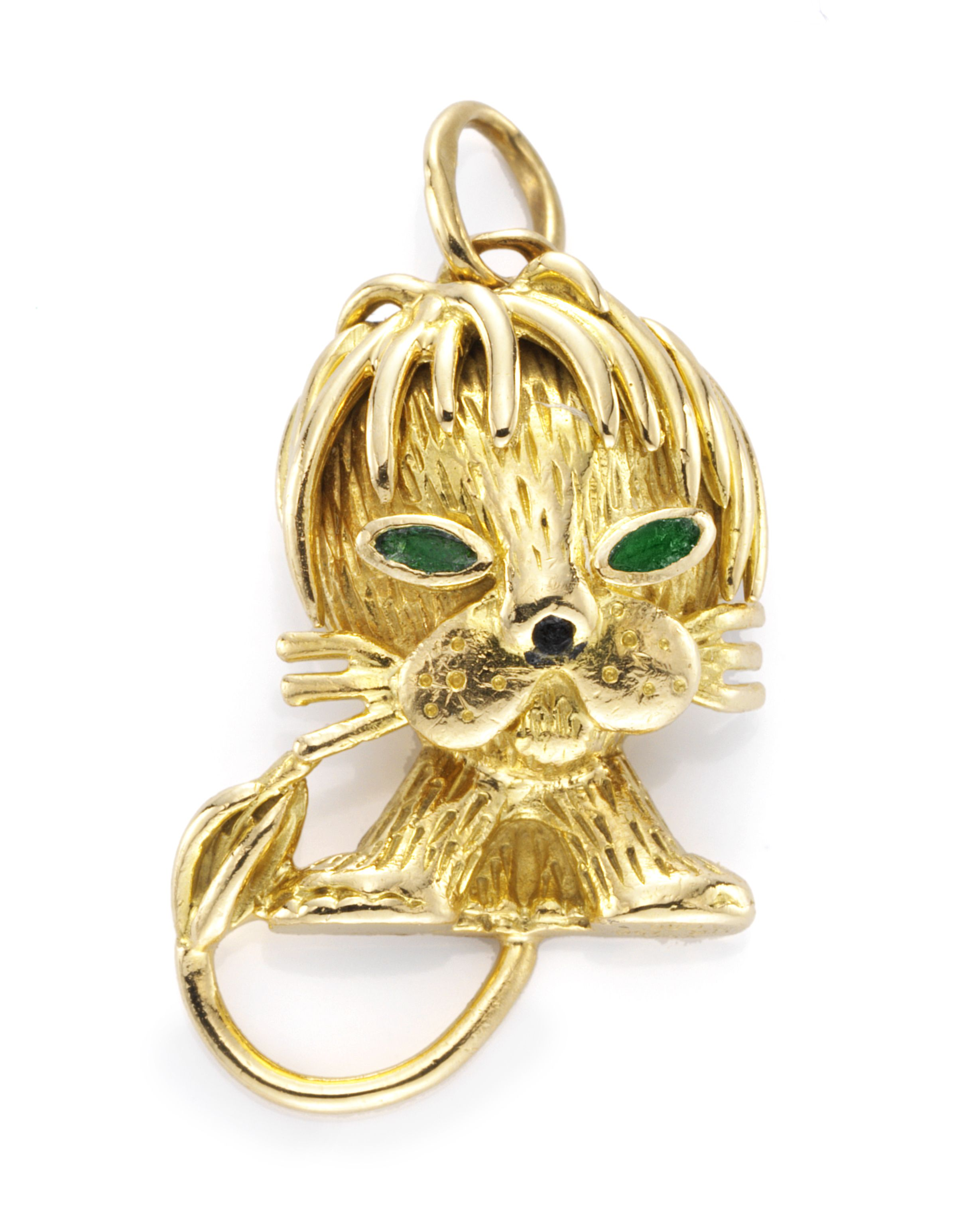 lion and pendant by gold pin emerald van cleef arpels an