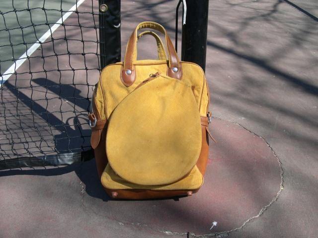 Vintage Gold Corduroy Tennis Bag. $35.00, via Etsy.