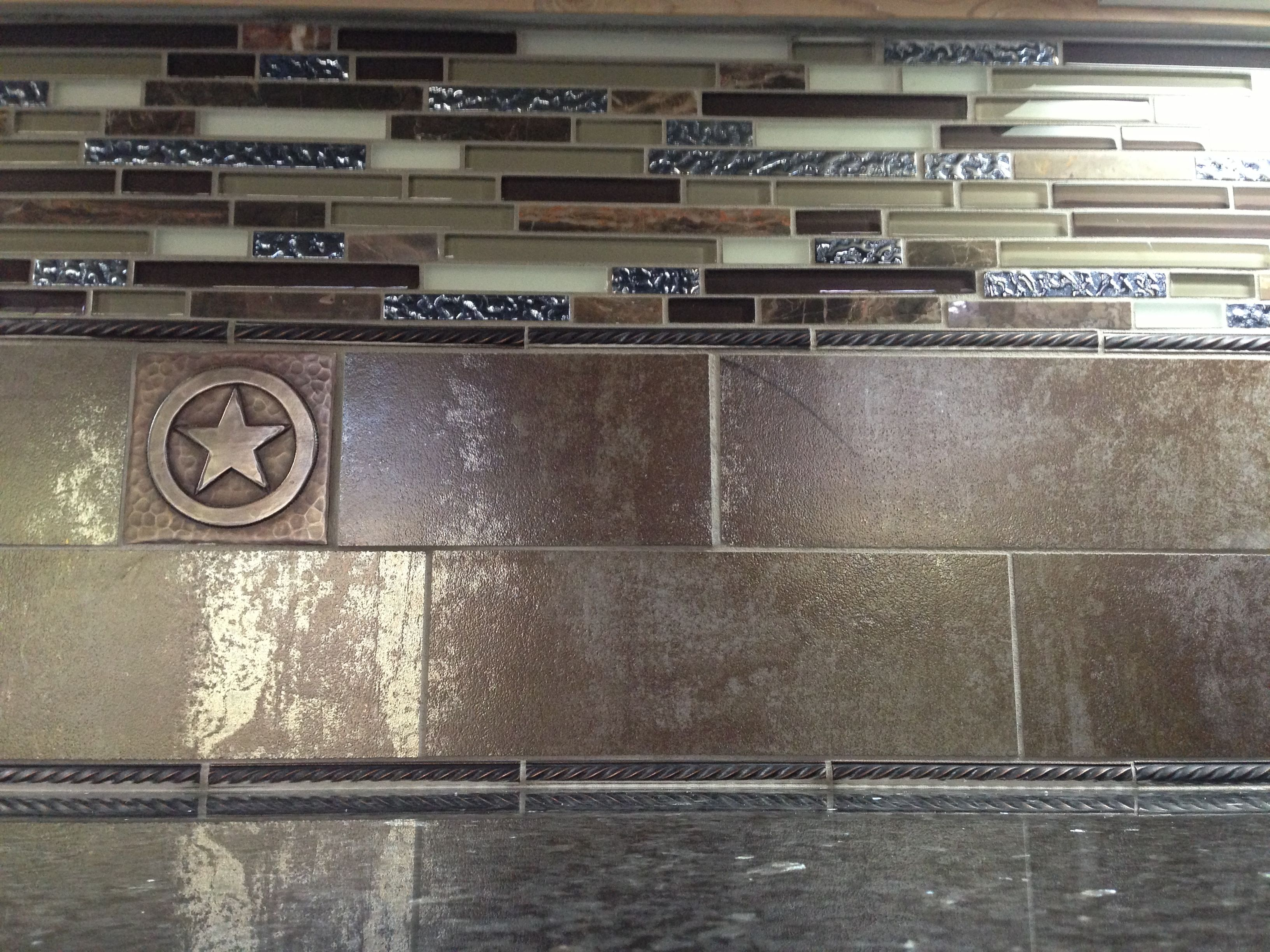 Another view of Elaine & Lee's Kitchen tile, glass tile and copper tile backsplash.