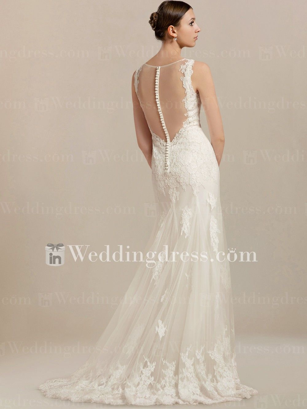 Wedding dress for body type  Sheer Back Lace Wedding Dress LC  Sexy Lace and Beautiful