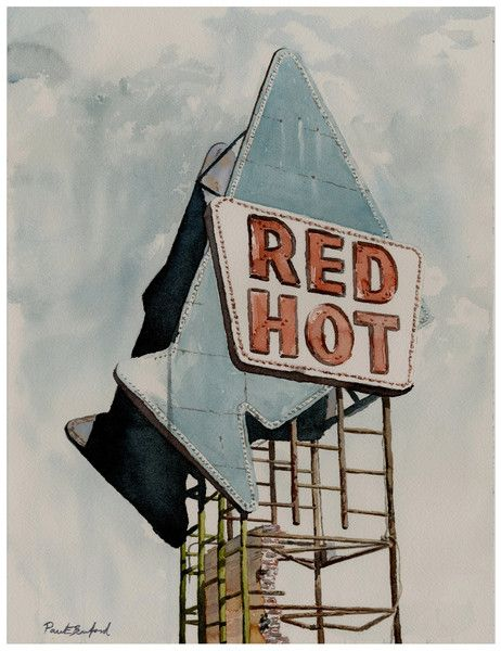 Paintings Watercolor Vintage Sign Tower Home Office Decor Meridian ...