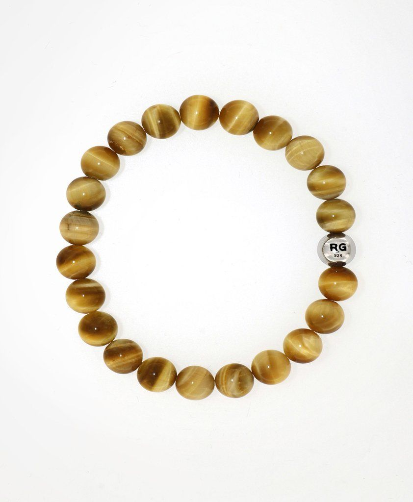 Rare gold tiger eye with two sided silver motif bead bracelet bead