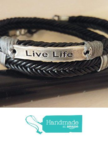 Live Life Quote Jewelry For Men Inspirational Sayings Black Leather Cord Braided Bracelet Symbolic Message On From Myera