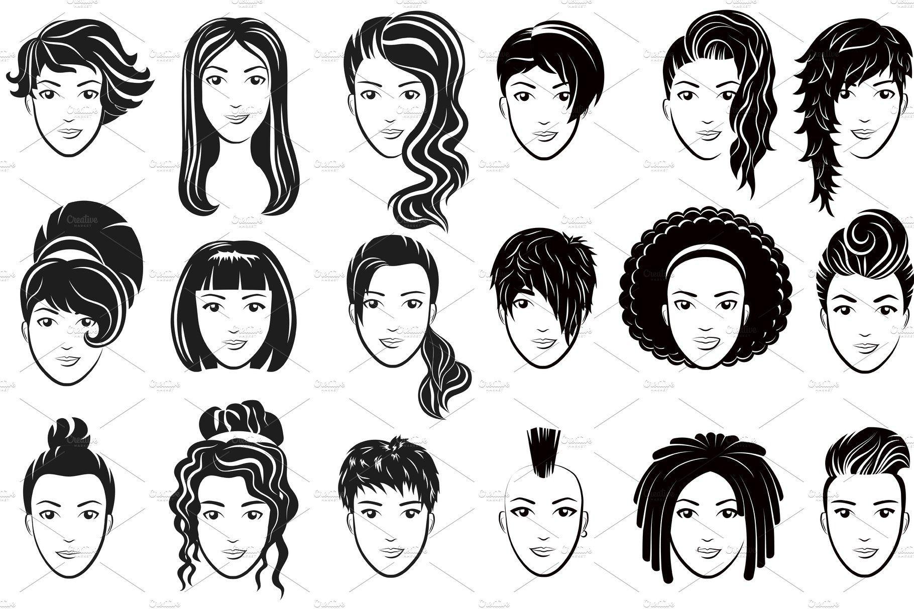 Women Avatar Hairstyles Logo Set Logo Set Icon Set Hair Styles
