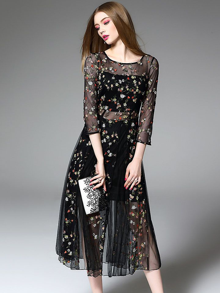 ... Dress  official store 74f7b 12969 Chic O-Neck 34 Sleeve Embroidery Fake  Two Piece Stylish Skater ... 5f43cd8d6