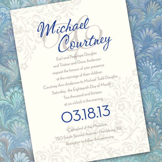 Silver And Blue Wedding Invitation Bridal Shower By Ceceliajane