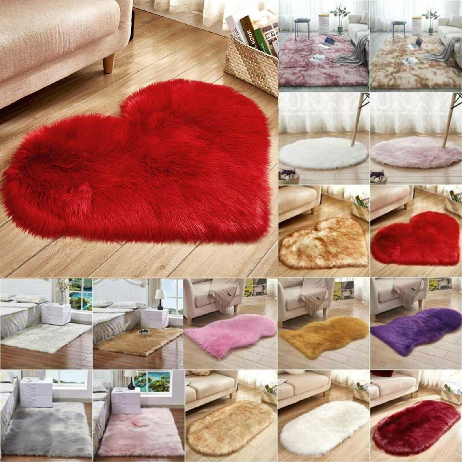 Fluffy Faux Fur Decor Area Rugs Hairy Soft Shaggy Bedroom