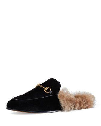 ecd4965ead0 Princetown Velvet Fur-Lined Mule