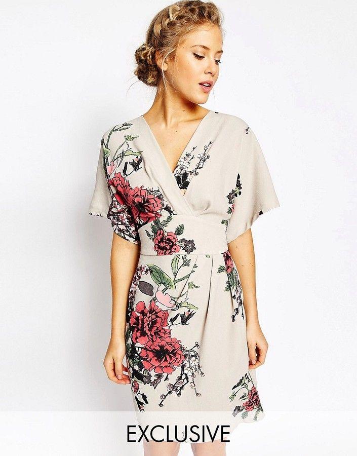 Closet London Closet Obi Wrap Dress With Kimono Sleeve In