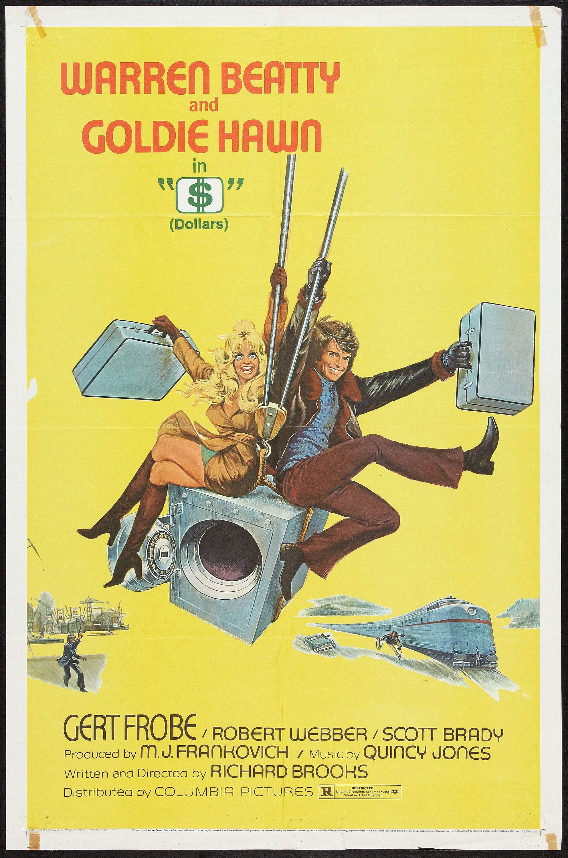 """$""  (Dollars)(1971) Stars: Warren Beatty, Goldie Hawn, Gert Fröbe, Robert Webber, Scott Brady ~ Director: Richard Brooks"