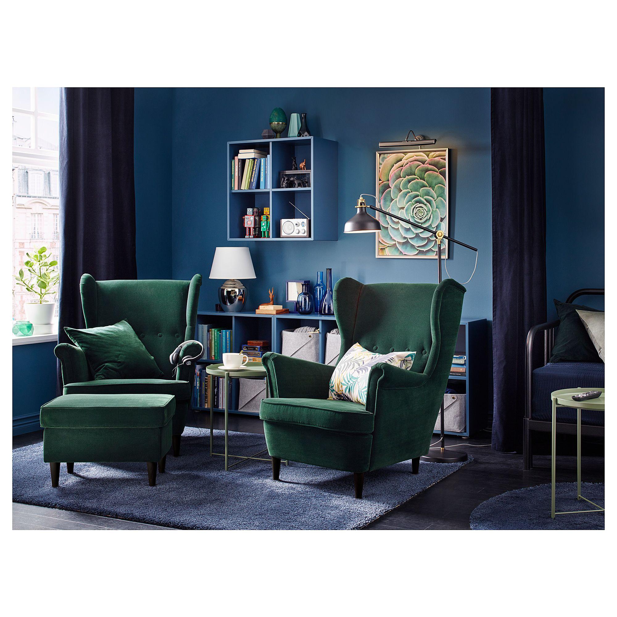 Living Room Ikea Indonesia: STRANDMON Wing Chair, Djuparp Dark Green