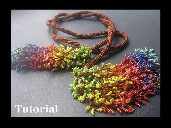 Necklace Beading Tutorial. Leaf Fringe Herringbone Rope Lariat Project (Open License)