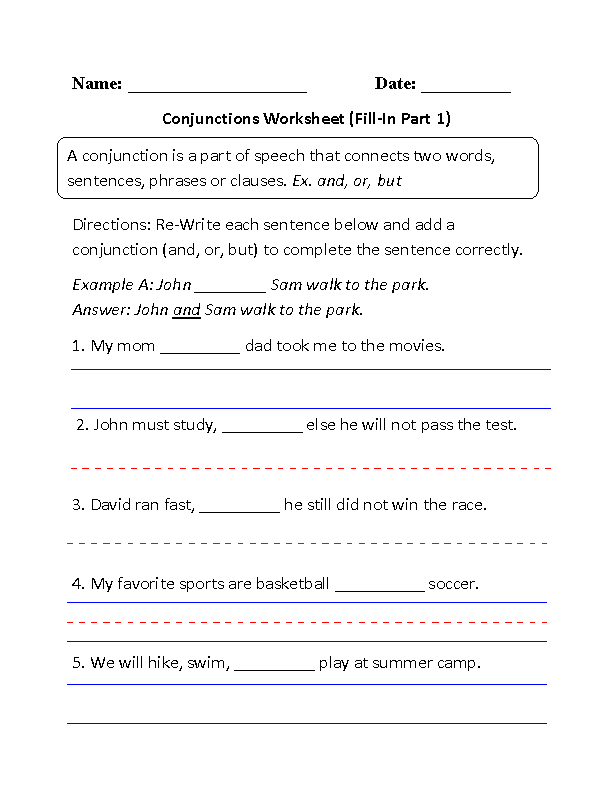 Conjunctions Worksheet Fill-In Part 1   GRAMMAR   Pinterest