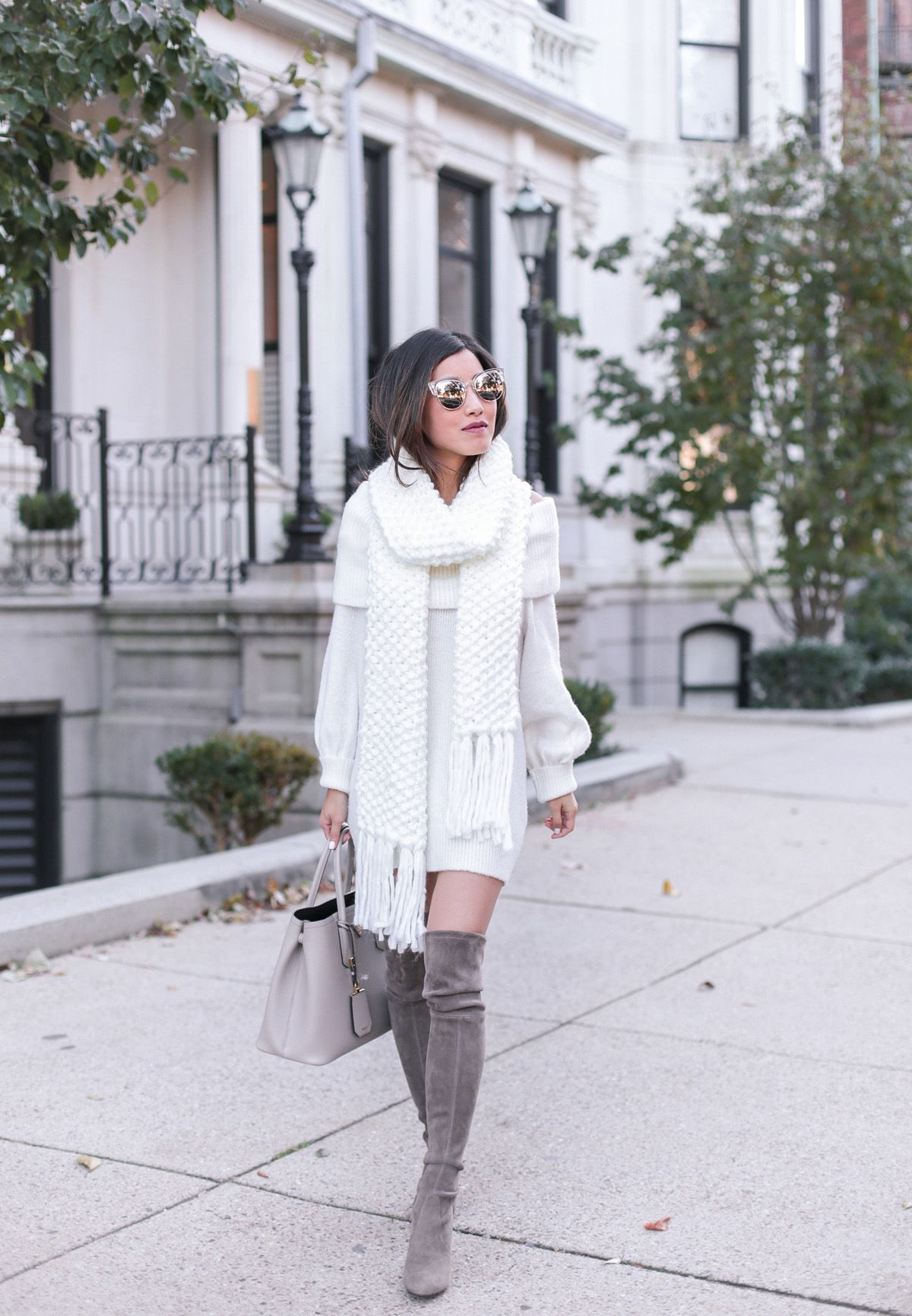48550ba3393 Cream sweater dress + chunky knit scarf+taupe over the knee boots+taupe  handbag+sunglasses. Fall Casual Outfit 2017