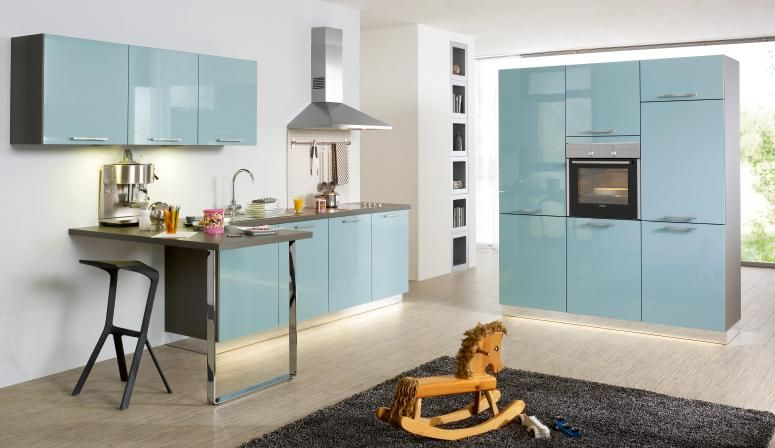 Aqua High Gloss Lacquer Modern Kitchen With Built In Oven And Dishwasher Http Www Bauformatusa Portfolio View Manhatten 626