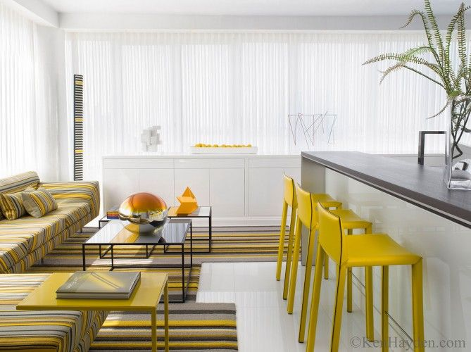 Kitchen Bar And Living Seating Area Of A Christopher Coleman Designed Condo  In New York City For A Venezuelan Couple.