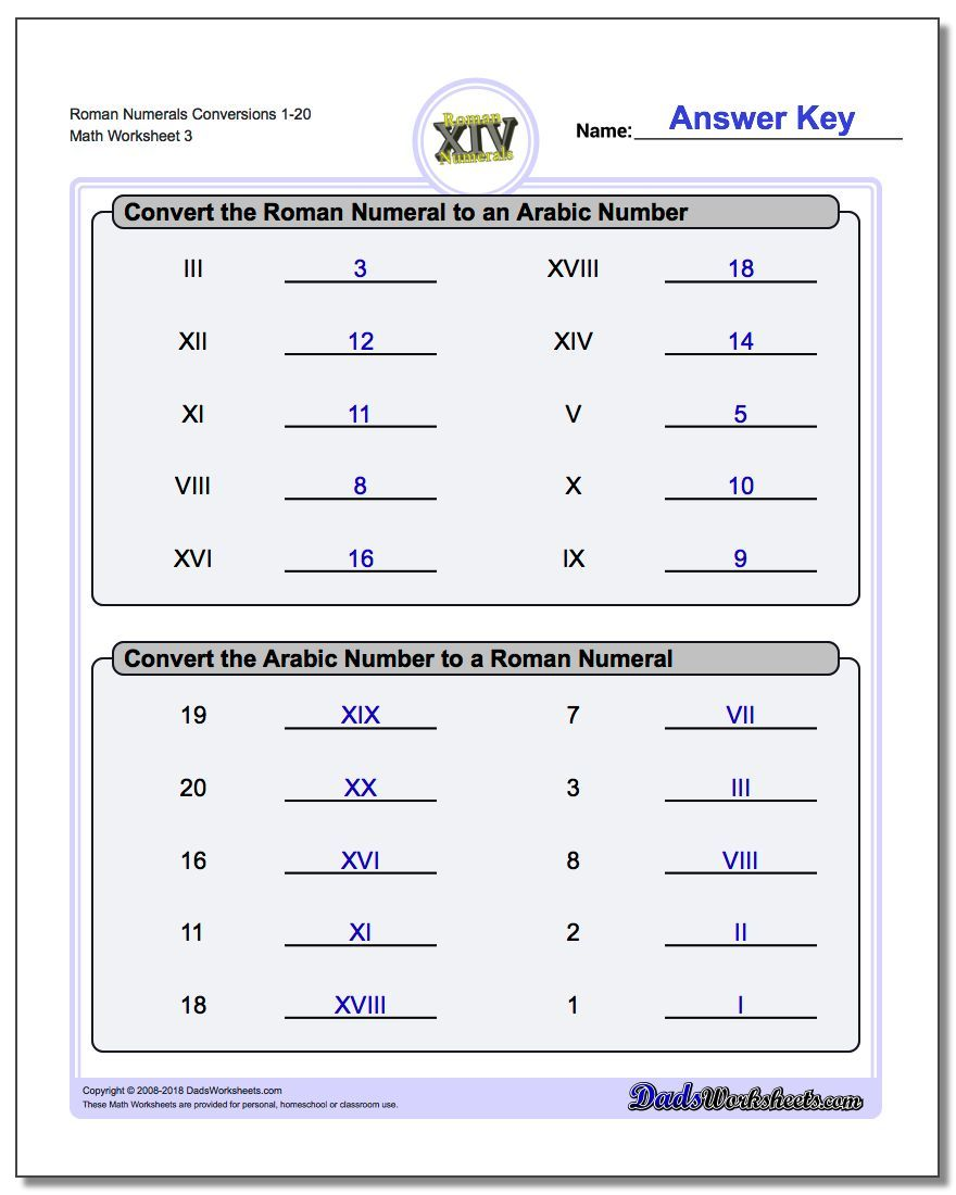hight resolution of Roman Numerals Conversion Worksheets 1-20 #Roman #Numerals #Worksheet   Roman  numeral conversion
