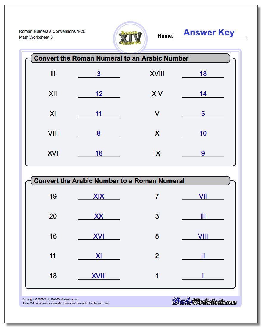 Roman Numerals Conversion Worksheets 1-20 #Roman #Numerals #Worksheet   Roman  numeral conversion [ 1100 x 880 Pixel ]