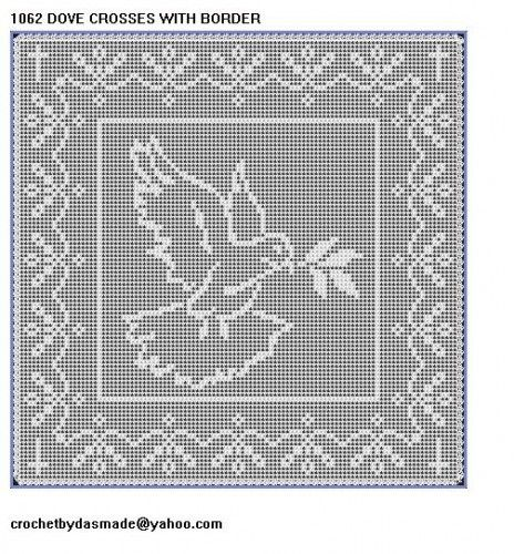 1062 Dove with crosses Filet Crochet Doily Mat table Afghan Pattern ...