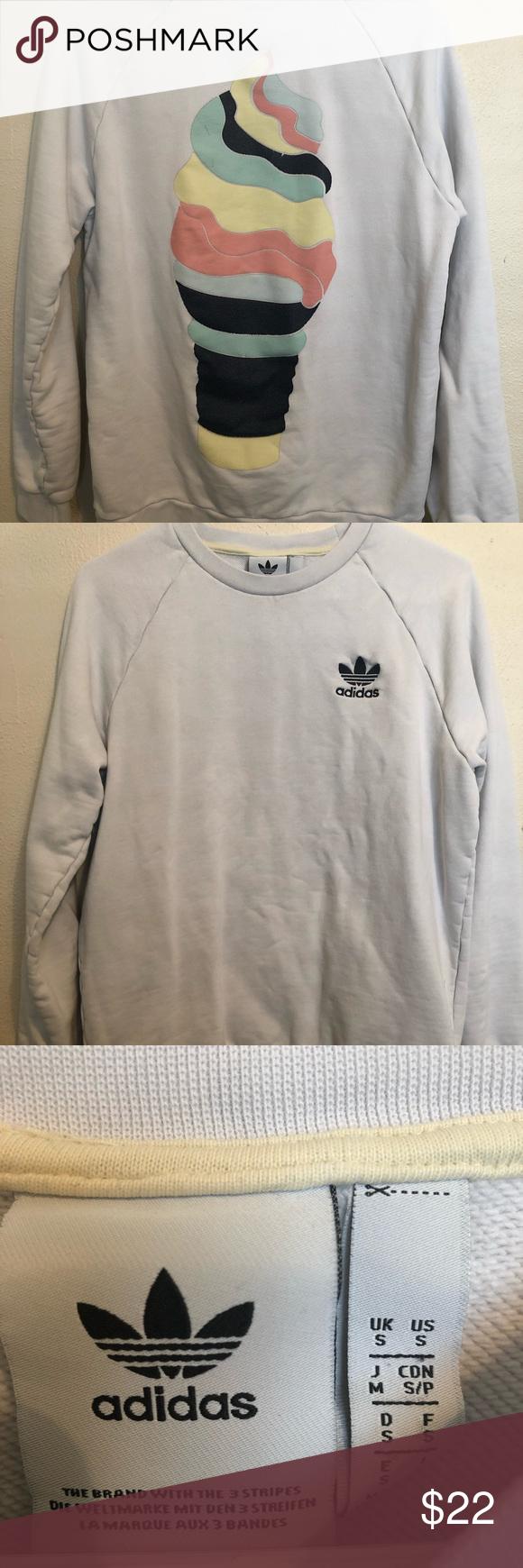 Adidas Sweatshirt White Adidas Sweatshirt With Ice Cream Cone Print On The Back Adidas Sweaters Crewneck Adidas Sweatshirt Sweatshirts Adidas Sweater [ 1740 x 580 Pixel ]